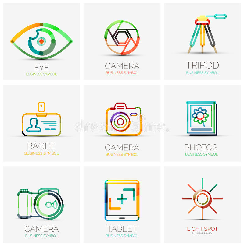 Collection of company logos, business concepts royalty free illustration