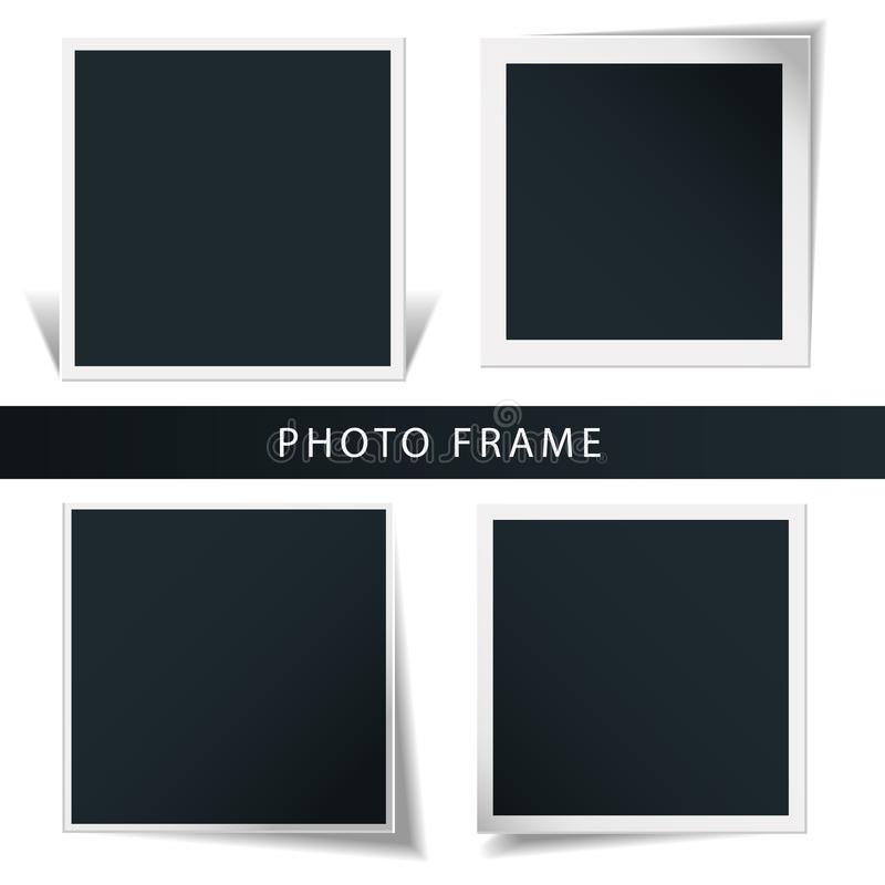 Collection of the concept of rotation of the retro photo frame isolated in a white background. Collection of the concept of rotation of the retro photo frame vector illustration