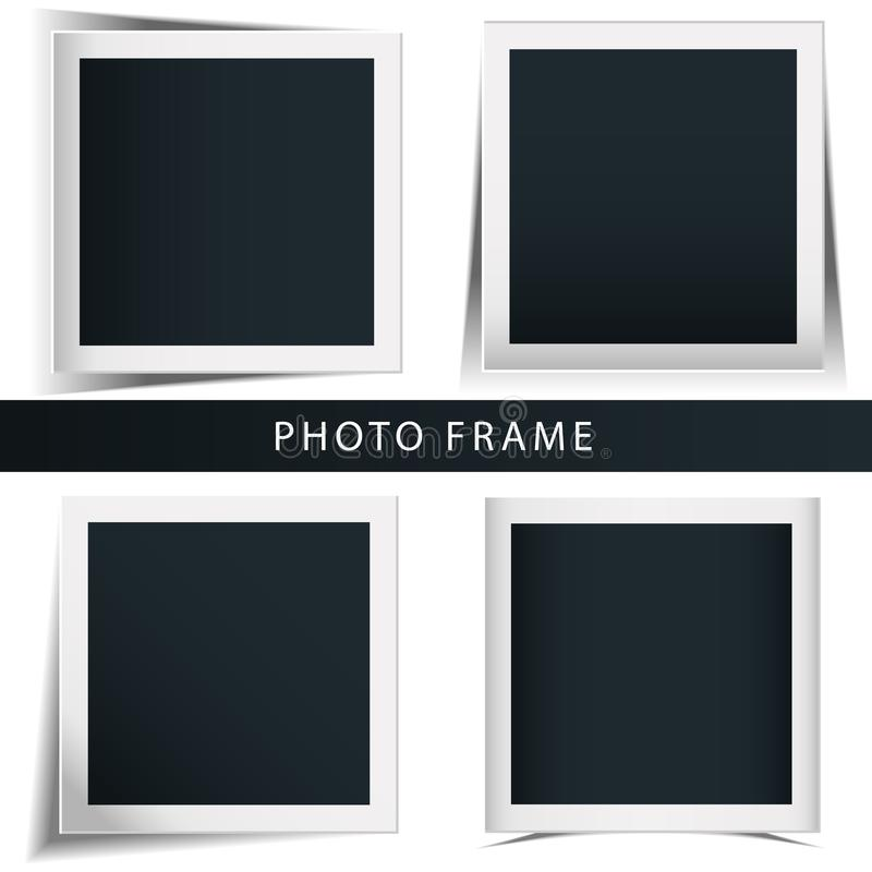Collection of the concept of rotation of the retro photo frame isolated white background. Collection of the concept of rotation of the retro photo frame vector illustration