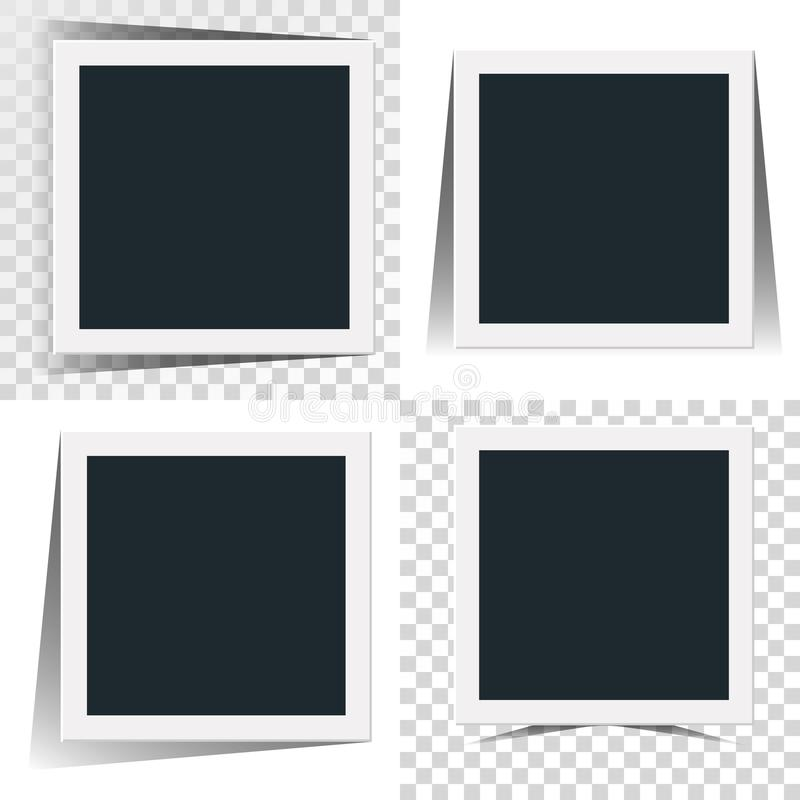 Collection of the concept of rotation of the retro photo frame isolated on white and transparancy background. Collection of the concept of rotation of the retro royalty free illustration