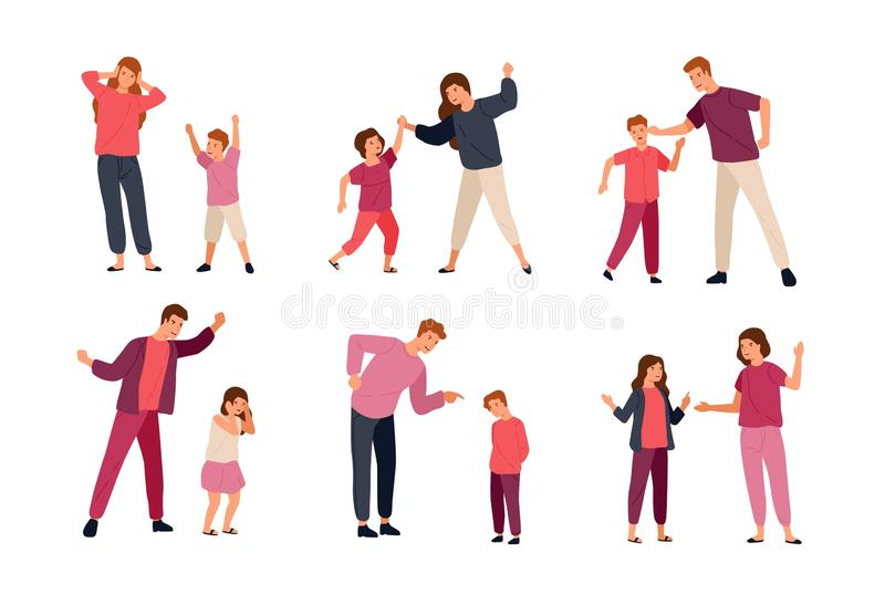 Collection of conflicts between parents and children isolated on white background. Problem of mutual aggression stock illustration