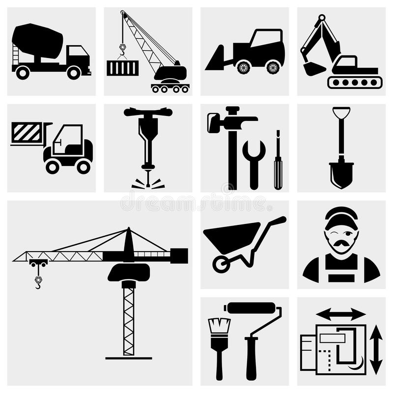 Construction icon set royalty free illustration
