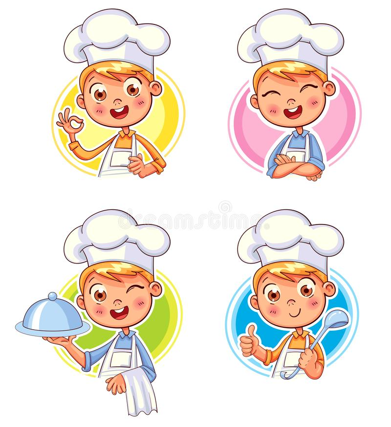 Collection of Cook Chef portraits in different situations. Collection happy smiling Chef Cook. Child in a cook`s cap and with a towel, holds a ladle. Kid makes vector illustration