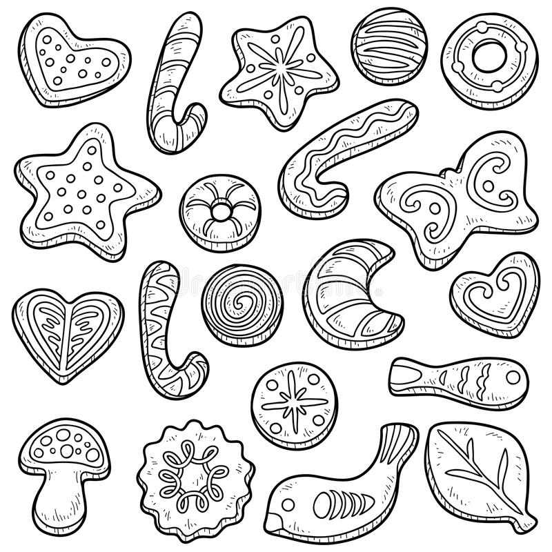 Collection of cookies, vector black and white set stock illustration