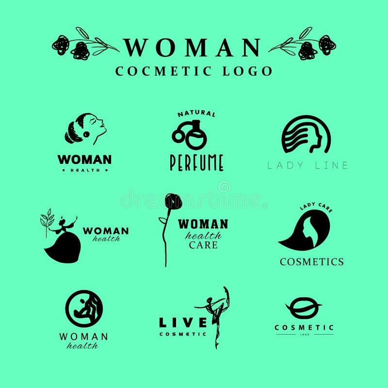 Collection cosmétique plate simple de calibre de logo de vecteur illustration stock