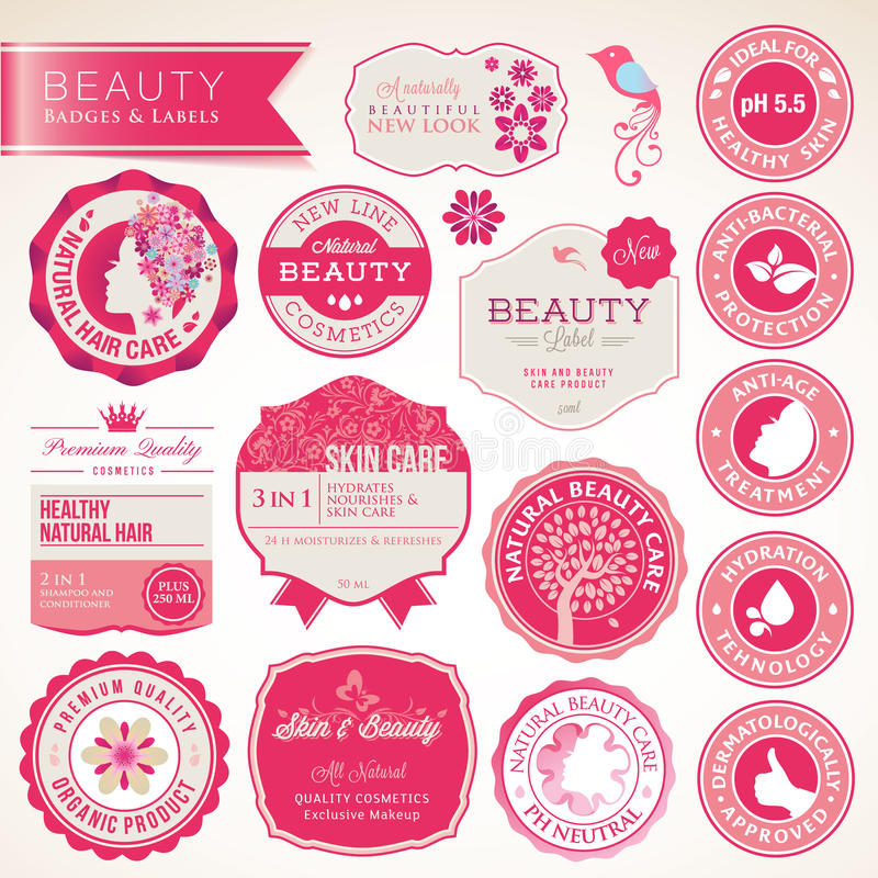 Collection of cosmetics labels and badges royalty free illustration