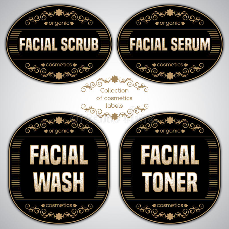 Collection of cosmetics labels vector illustration
