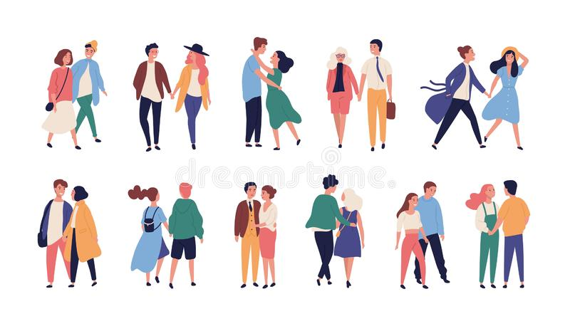 Collection of couples on romantic date. Set of teenage boys and girls holding hands, walking together isolated on white. Background. Bundle of men and women in stock illustration