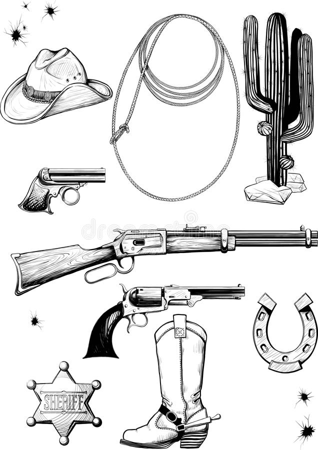 Collection of cowboy accessories stock illustration
