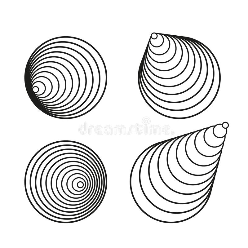 Collection créative d'éléments de conception de vecteur de spirale noire de cercle illustration libre de droits