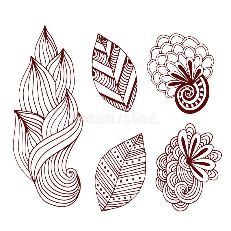 Collection créative de nature dans le style de zentangle Ensemble tiré par la main de vecteur avec les fleurs et les feuilles cré illustration stock