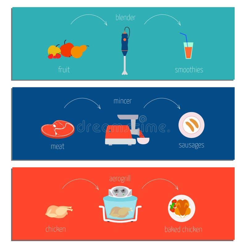 Collection créative de trois recettes simples illustration de vecteur