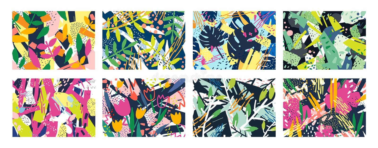 Collection of creative abstract horizontal backgrounds or backdrops with tree branches, leaves, colorful stains and vector illustration