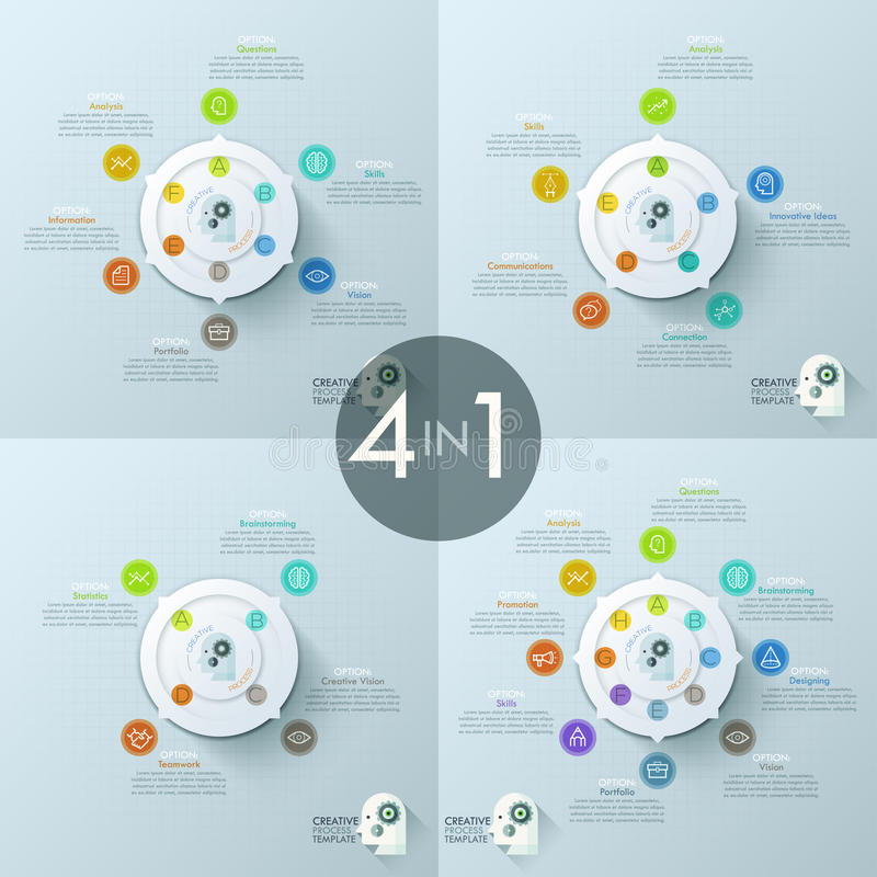 Collection of 4 creative infographic design templates. White central circular element with arrows, letters, pictograms and text boxes. Vector illustration for royalty free illustration