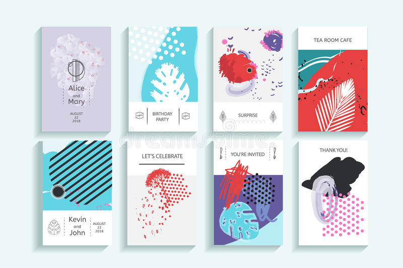 Collection of creative universal trendy cards royalty free illustration