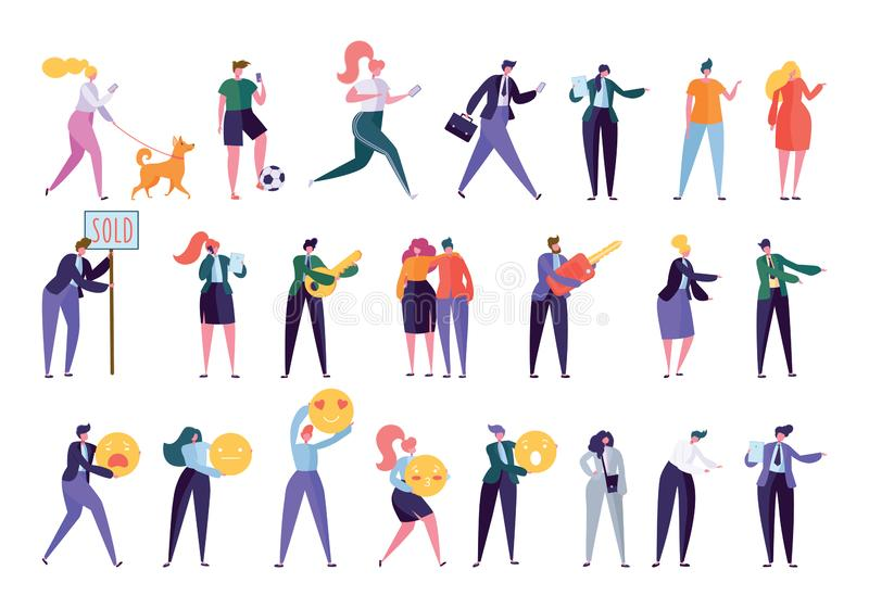 Collection Creative Various Lifestyle Character. Set Crowd of People Performing Activity - Walking Dog, Going Sport, Looking Job, Doing Business, Building vector illustration