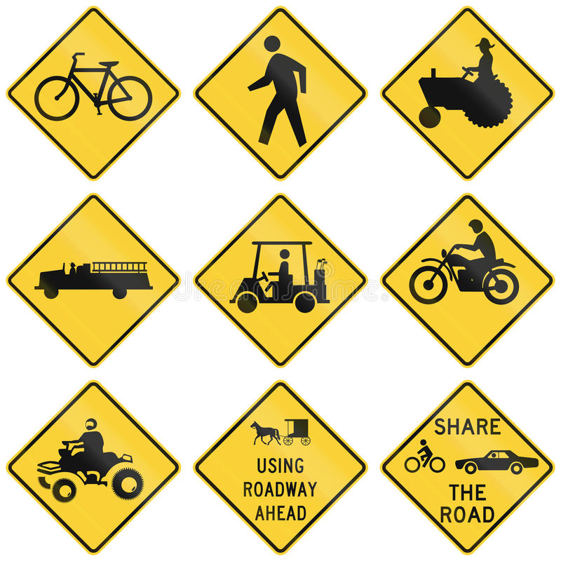 Collection of crossing warning used in the USA.  royalty free illustration