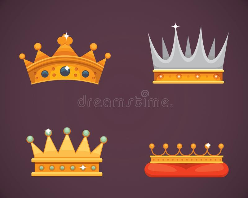 Collection of crown icons awards for winners, champions, leadership. Royal king, queen, princess crowns. vector illustration