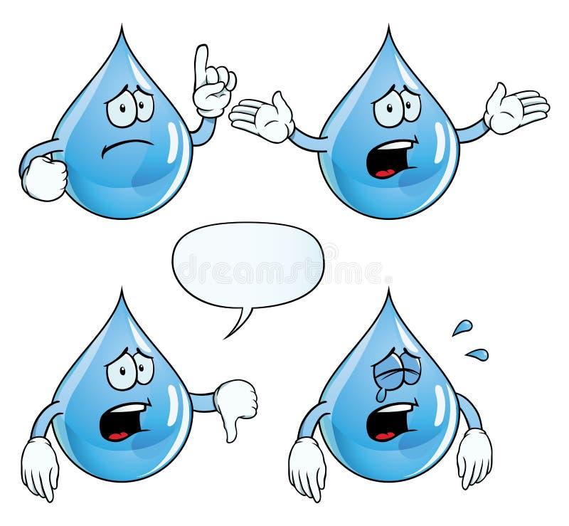 Crying water drop set royalty free illustration
