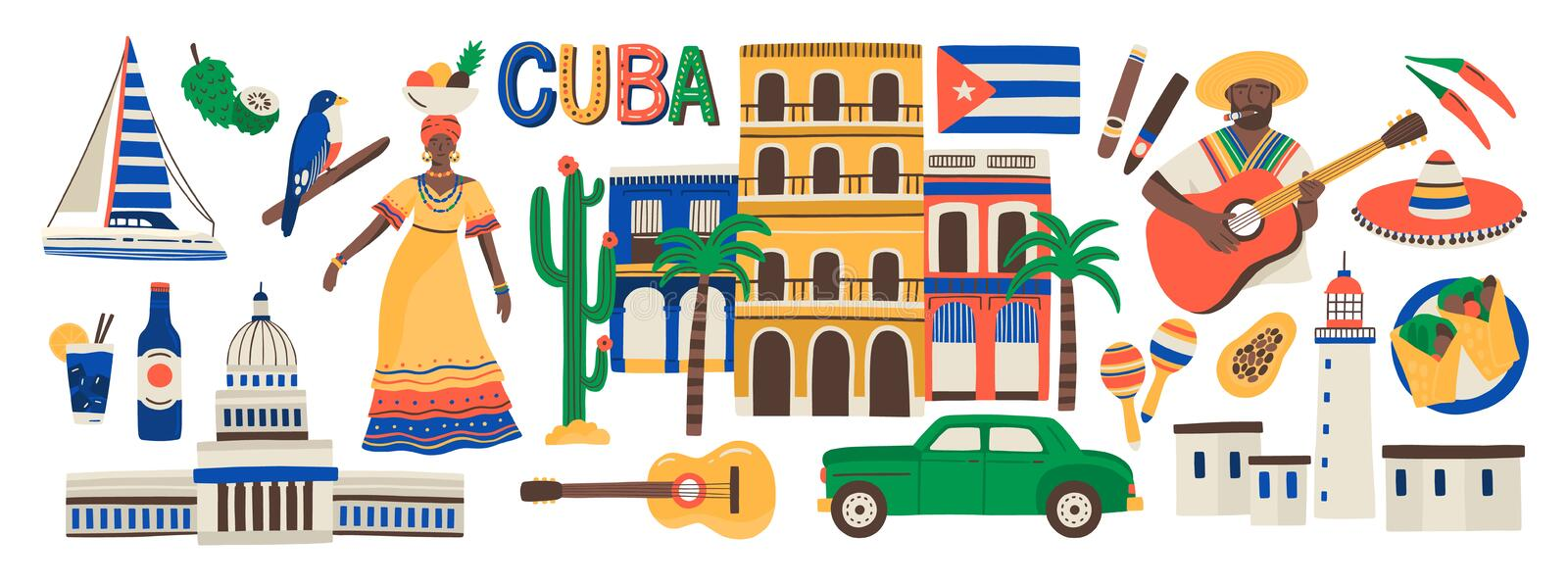 Collection of Cuba attributes isolated on white background - musical instruments, Cuban rum, flag, building, sombrero stock illustration
