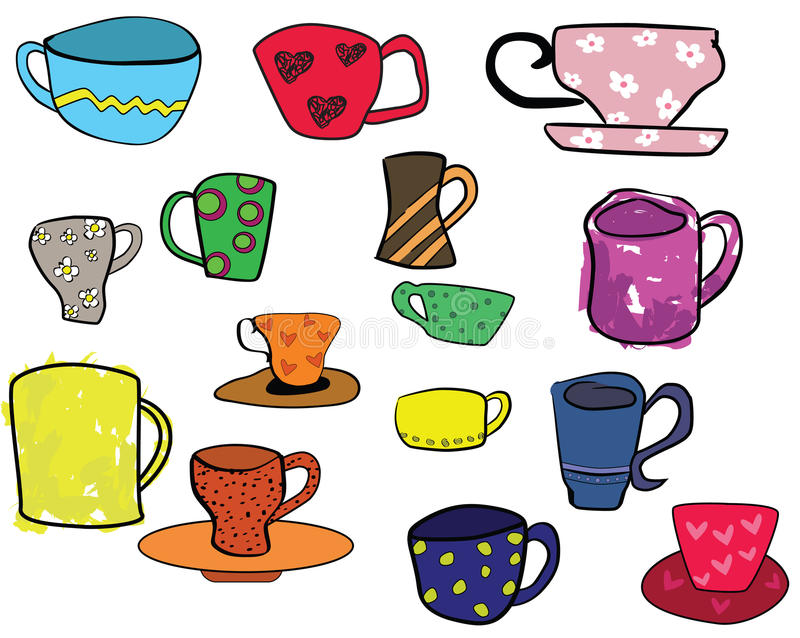 Download Collection Of Cups, Freehand Illustration Stock Vector - Image: 35462251