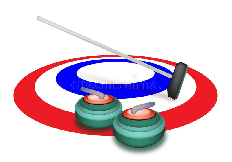 A Collection Of Curling Stones On Ice Stock Vector