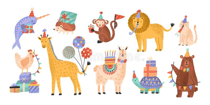 Collection of cute adorable wild animals celebrating birthday at party. Bundle of funny amusing cartoon characters in. Cone hats holding cake, gifts, balloons vector illustration