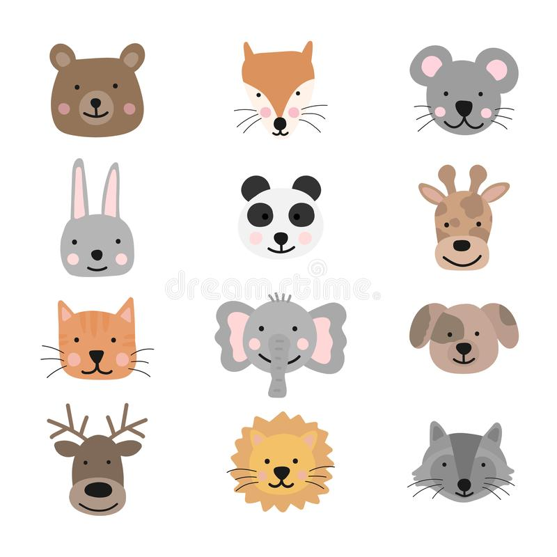 A collection of cute animals for kids. Vector image of a bear, fox, mouse, rabbit, panda, giraffe, cat, elephant, dog, deer, lion, royalty free illustration