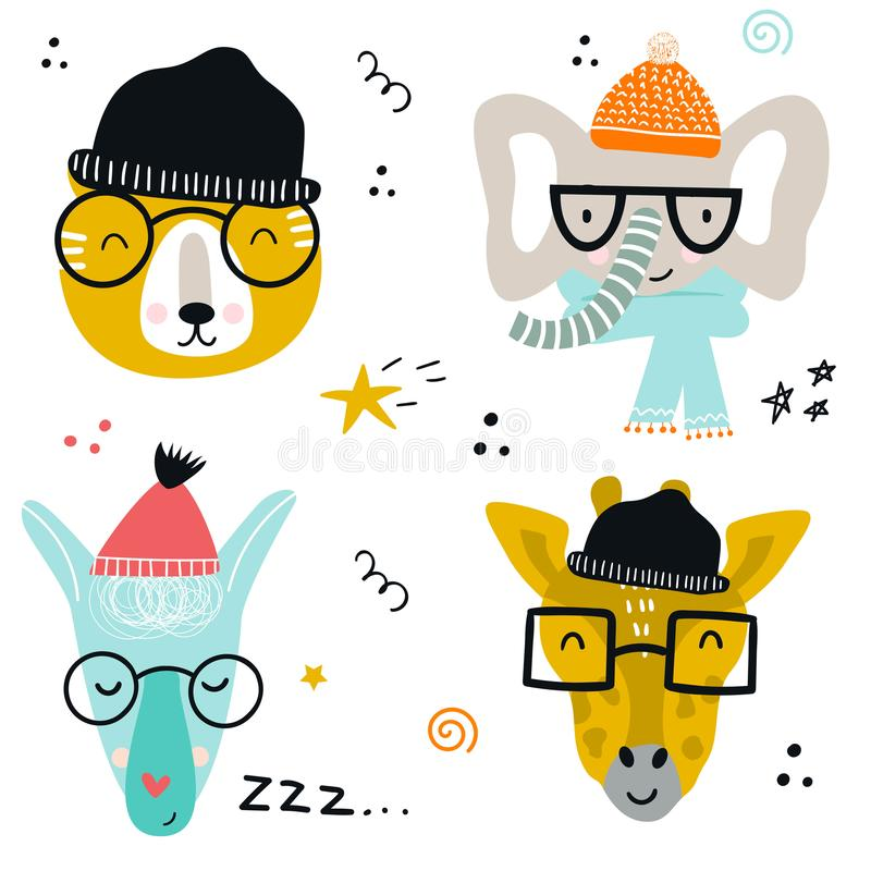 Collection of cute baby animals muzzle with glasses and knitted hats in scandinavian style. Set of wild characters in scandinavian style stock illustration
