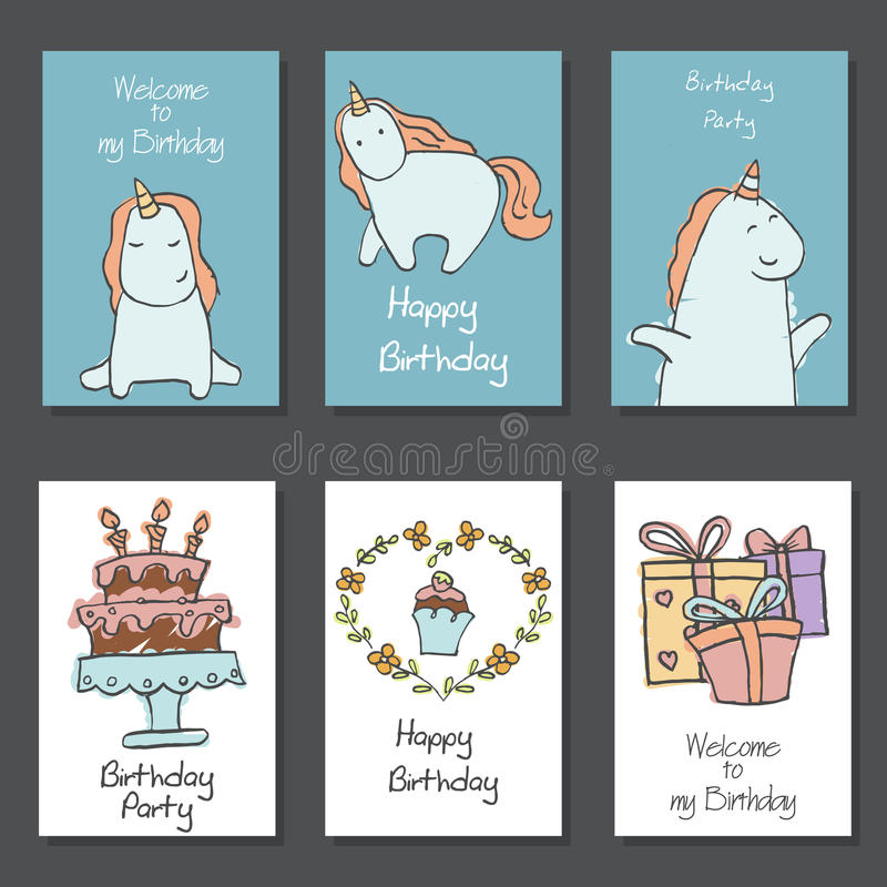 Collection of cute Birthday cards. stock illustration