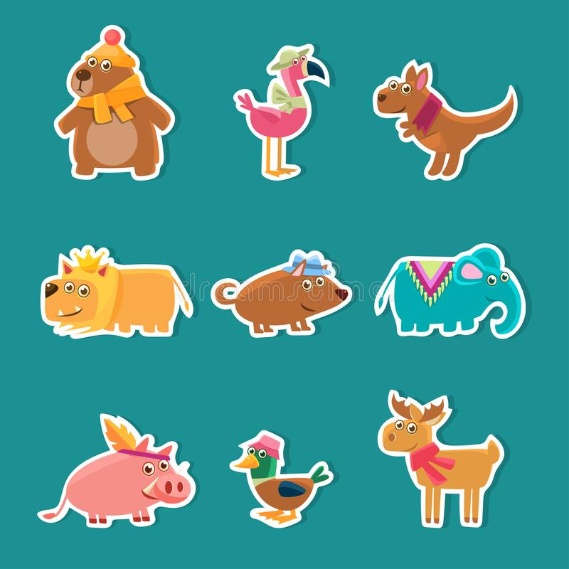 Collection of Cute Cartoon Animal Stickers, Bear, Flamingo, Kangaroo, Lion, Pig, Duck, Deer Vector Illustration stock illustration