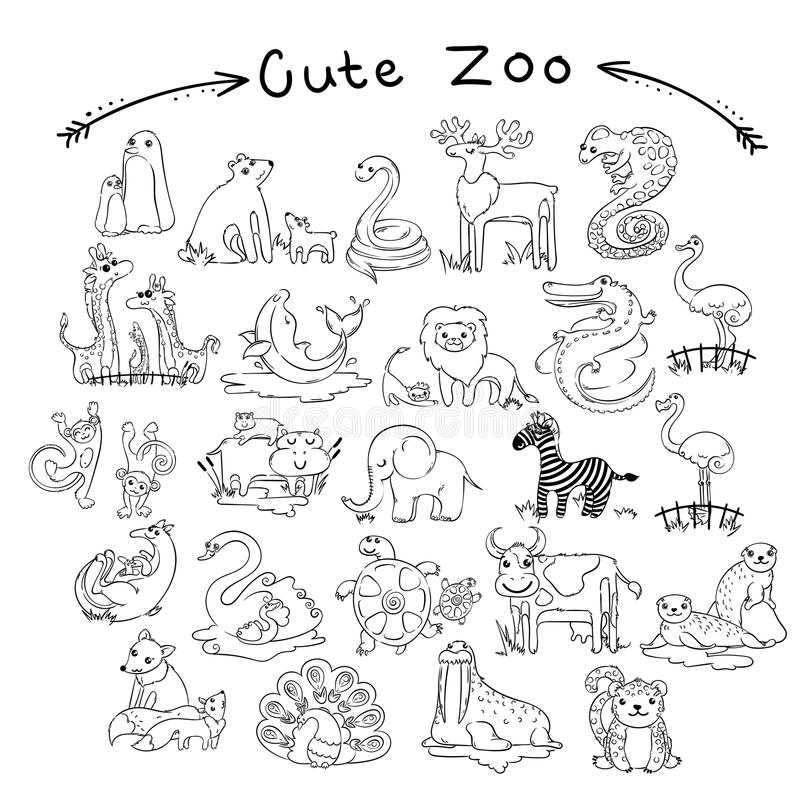 Collection of cute cartoon doodle animals and birds of the world. Lined for coloring pages stock illustration