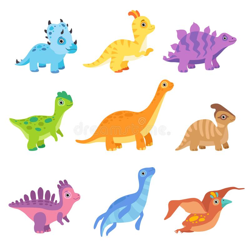 Collection of cute colorful dinosaurs, funny baby dino cartoon characters vector Illustration. Isolated on a white background royalty free illustration