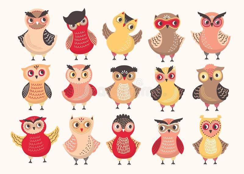 Collection of cute colorful owls decorated with different ornaments. Set of funny cartoon forest birds standing in royalty free illustration