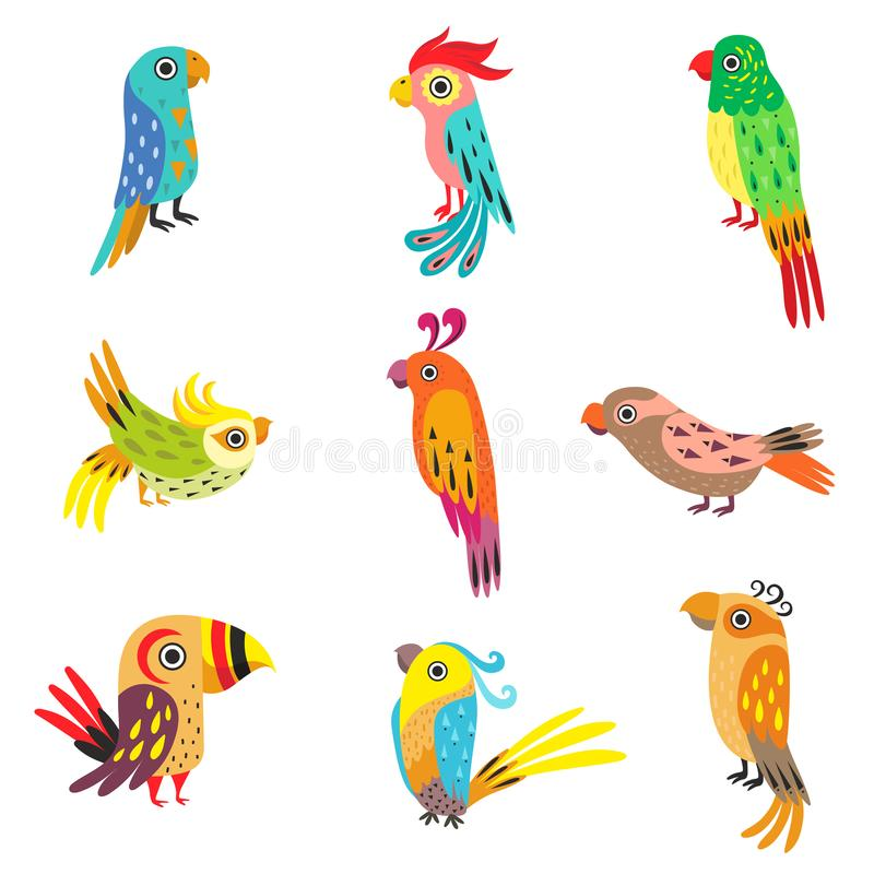 Collection of Cute Colorful Tropical Parrots Vector Illustration stock illustration