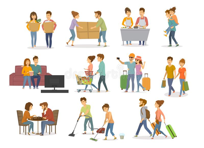 Collection of cute couples activities, man and woman shopping in mall, supermarket, moving in a new home, cleaning, watching tv on stock illustration