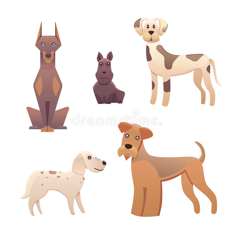 Collection cute different type of dogs small and big. Cartoon illustrations happy doggy or puppy. Pet animal clip art royalty free illustration