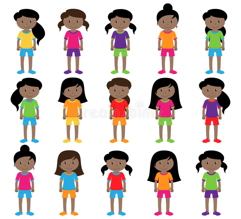 Collection of Cute and Diverse Vector Format Female Students or Graduates. Some of the Children and Kids have Backpacks, Books and Graduation Caps stock illustration