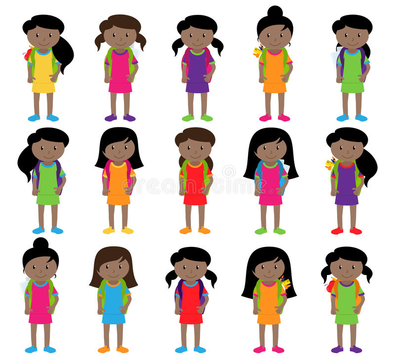 Collection of Cute and Diverse Vector Format Female Students or Graduates. Some of the Children and Kids have Backpacks, Books and Graduation Caps royalty free illustration