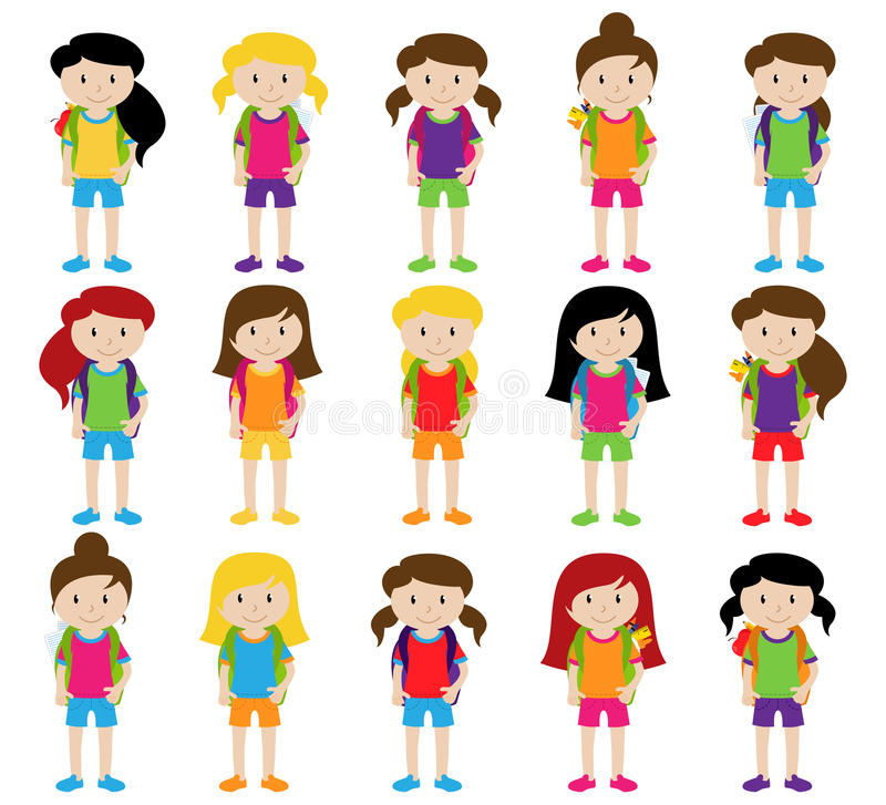 Collection of Cute and Diverse Vector Format Female Students or Graduates. Some of the Children and Kids have Backpacks, Books and Graduation Caps vector illustration