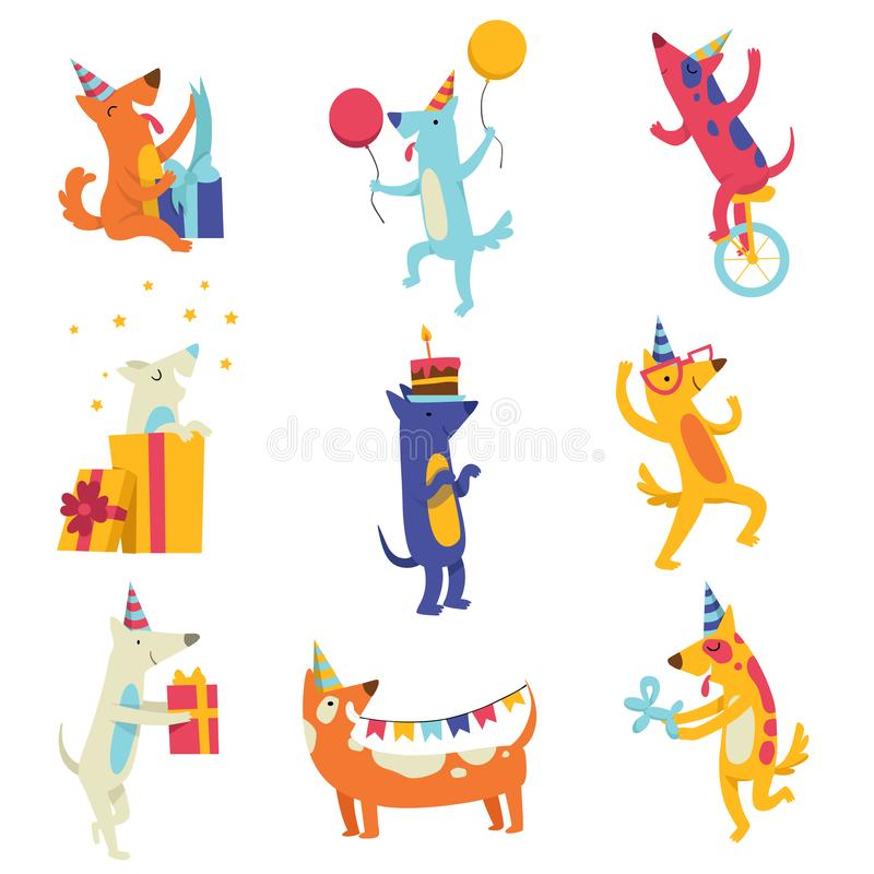Collection of cute dogs in party hats, funny cartoon animal characters having fun at birthday party vector Illustration royalty free illustration