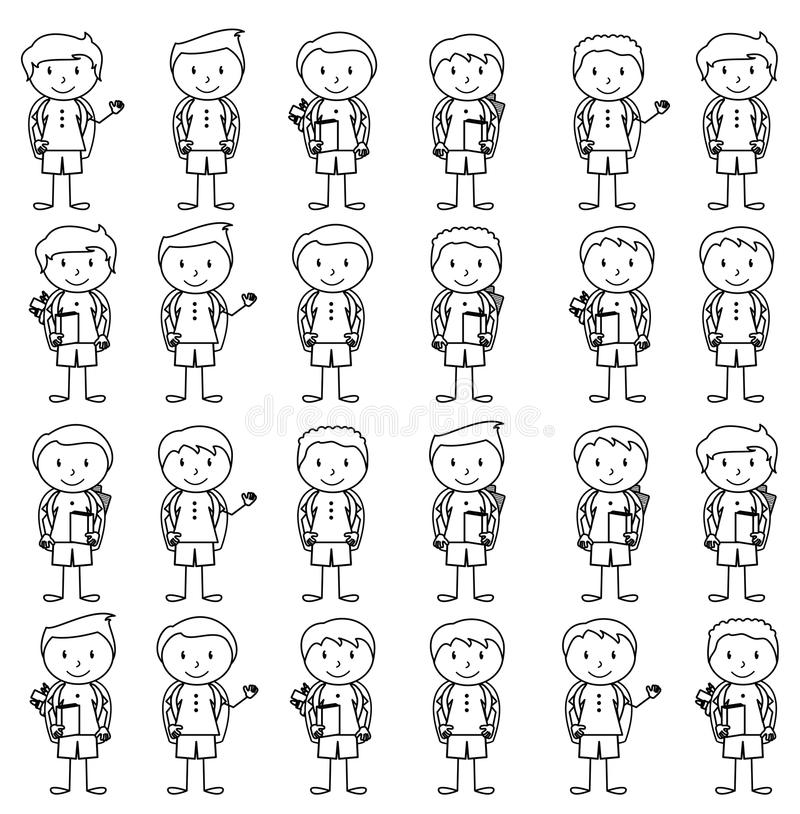 Collection of Cute and Ethnically Diverse Male Stick Figure Students and Children. With Backpacks royalty free illustration