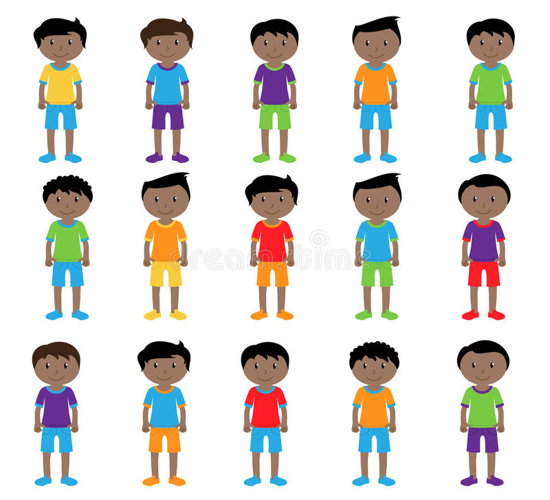 Collection of Cute and Ethnically Diverse Male Students and Children. With Backpacks royalty free illustration