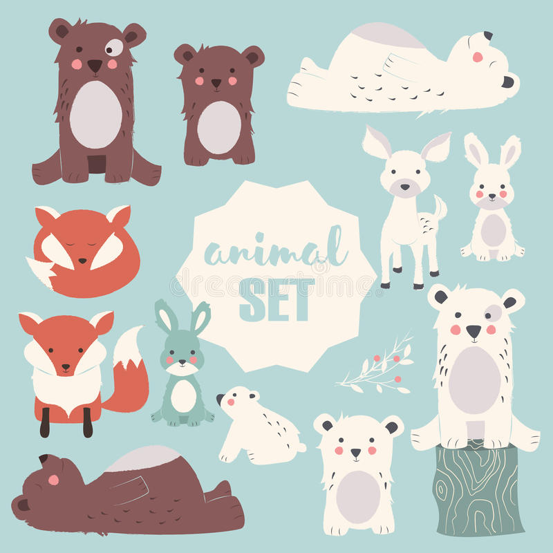 Collection of cute forest and polar animals with baby cubs, including bear, fox, fawn and rabbit. Vector illustration royalty free illustration