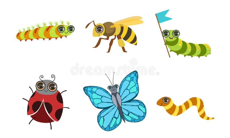 Collection of Cute Funny Cartoon Insects Set, Ladybug, Butterfly, Deer Beetle, Wasp Vector Illustration. On White Background stock illustration