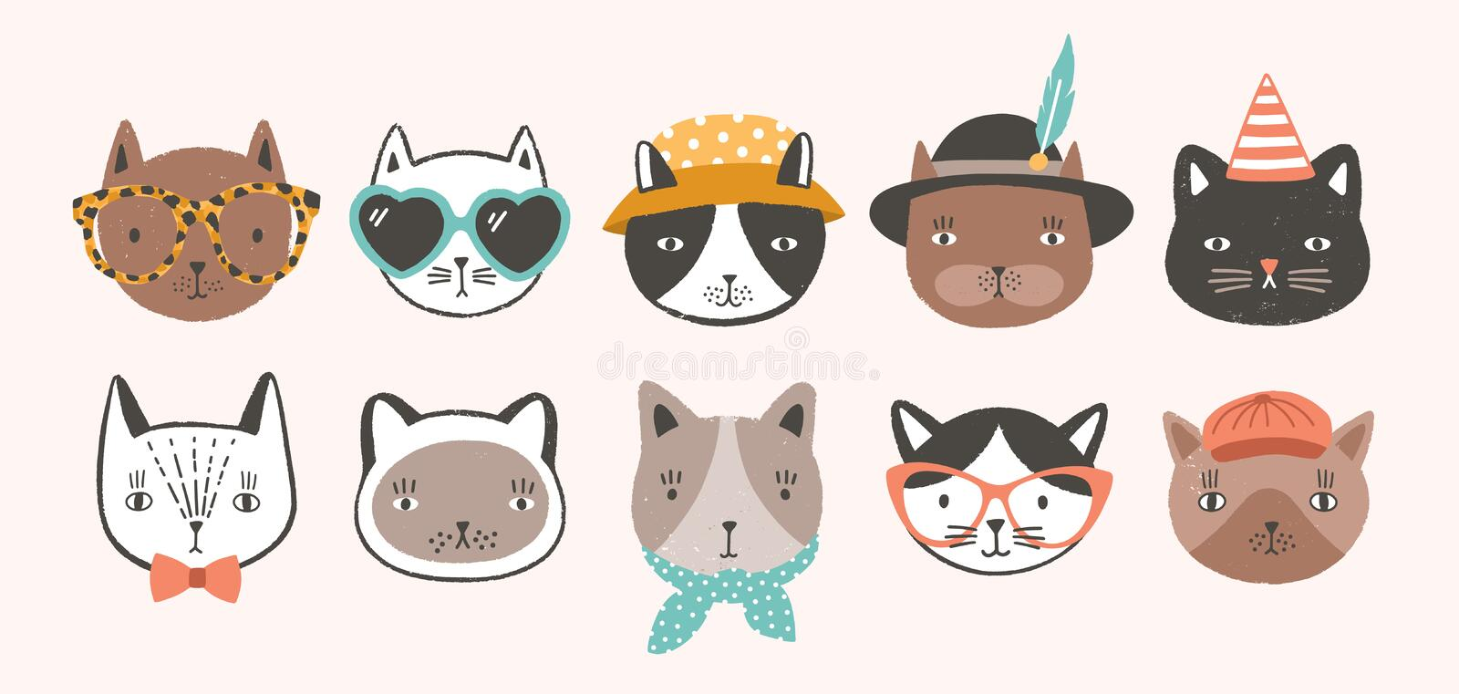 Collection of cute funny cat faces or heads wearing glasses, sunglasses and hats. Bundle of various cartoon animal royalty free illustration