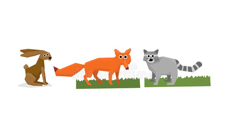 Collection of cute geometric animals, hare, fox, raccoon vector Illustration stock illustration