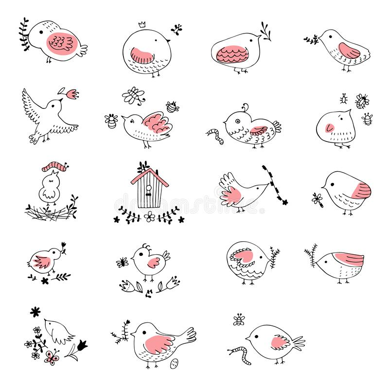 Collection of cute hand drawn bird Doodle. Black on white vector set. Easter design.  vector illustration