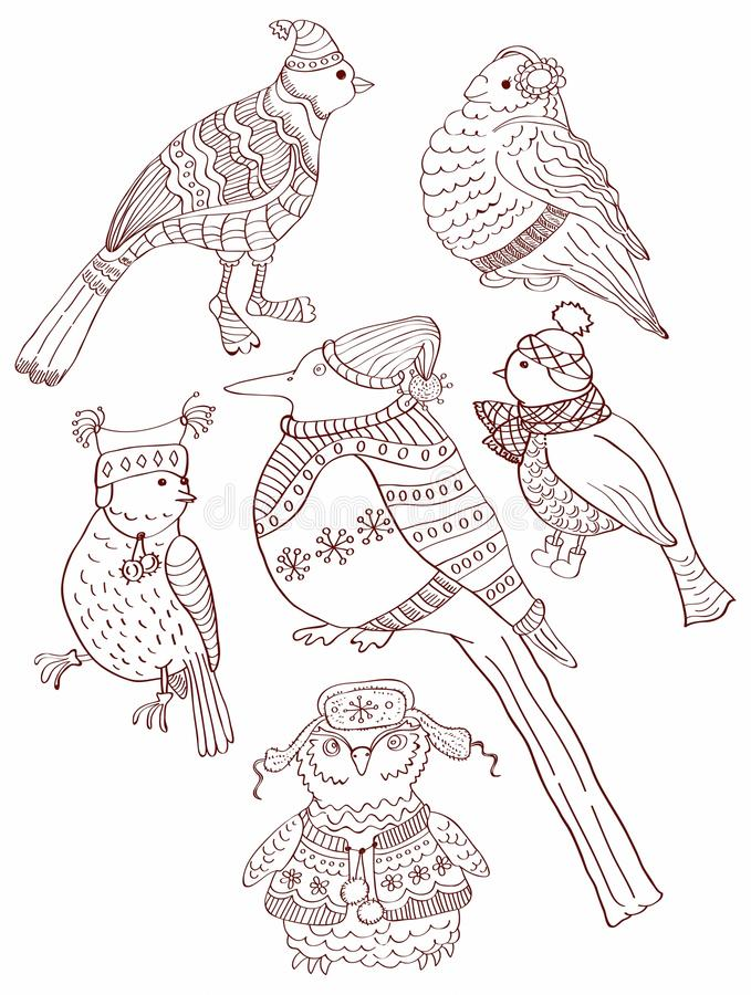 Download A Collection Of Cute Hand-drawn Bird Doodles Stock Illustration - Illustration of drawn, feather: 26893809