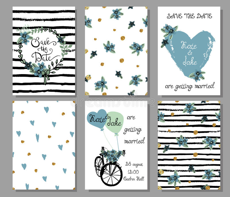 Collection of 6 cute hand drawn card templates. Save the date, b stock illustration